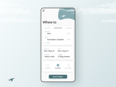 68 :: Flight Search mobile flight search dailyui 068 dailyui ui