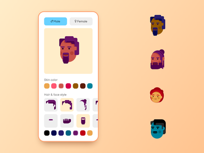 88 :: Avatar Builder mobile profile customizer avatar builder avatar dailyui 088 daily ui dailyui