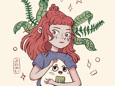 Exploration learning sushi plant girl procreate drawing illustration art illustration
