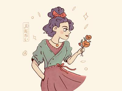 Little thing flower girl procreate graphic design drawing art illustration art illustration