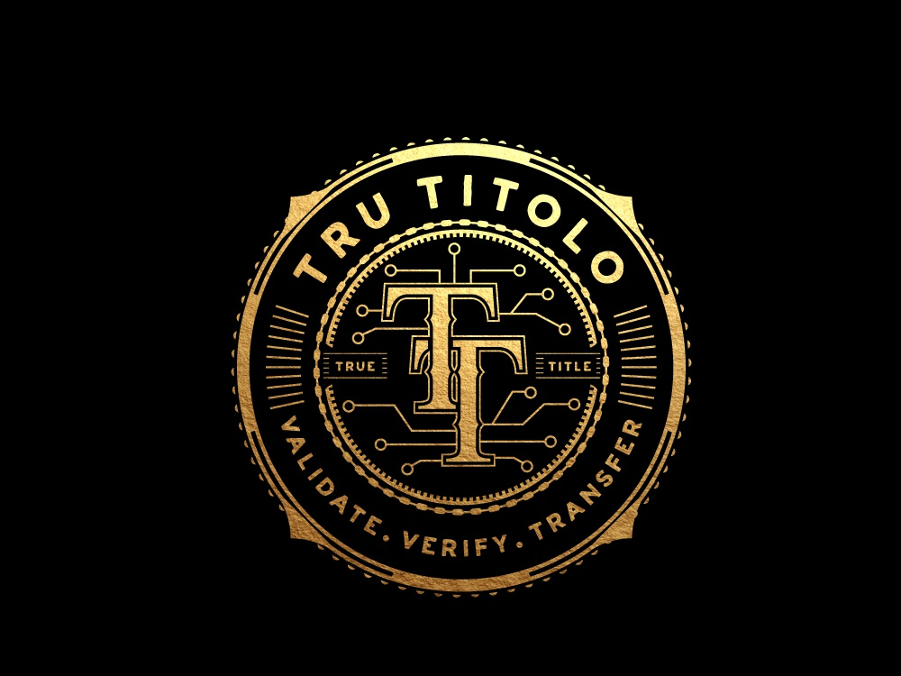 Tru titolo gold illustrator vector brand image logo design retail vintage and modern vintage badge luxury logo blockchain circuit technology circular logo badge typography logo graphicdesign branding