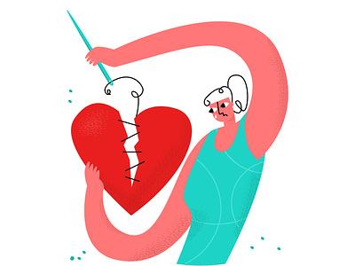 heart2 modern style simple flat vector illustration restore love emotion cry woman divorce separation breakup heart broken