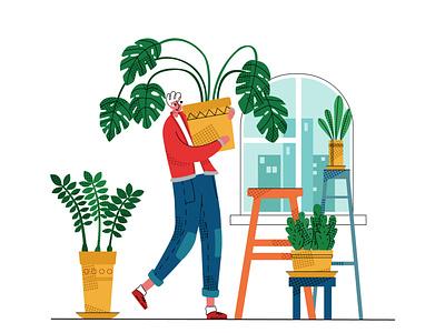 gardening2 happiness housework pot flowers flower nature green care plant man homework home gardening garden