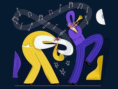 jazz1 emotion illustration vector modern style performance two musician player melody notes trombone saxophone duet jazz festival jazz