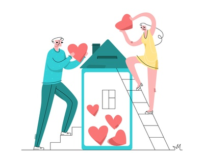 love1 emotion flat modern style simple vector illustration happy relationship comfort home hearts inlove love married couple
