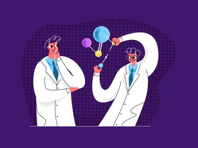 science2 flat simple modern style vector illustration vaccine scientist lab molecule atom chemistry opening discovery science sci-fi