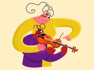 violin modern style flat simple vector illustration student teen children violin teaching musician school teacher music player