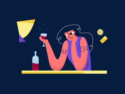 drink1 alchohol flat modern style simple vector illustration wistful melancholy sad glass bottle vino abstract woman drink wine
