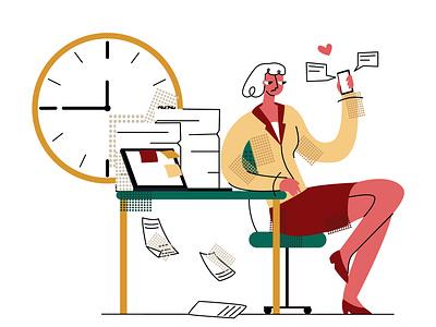 procrastination2 modern style emotion flat simple vector illustration timer social network lazy work woman later procrastination