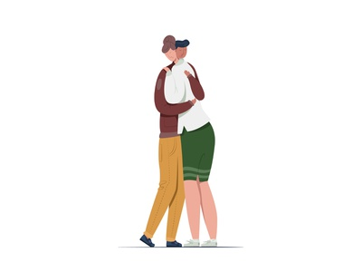 couple2 emotion flat modern style simple vector illustration embrace farewell greeting fall in love love couple