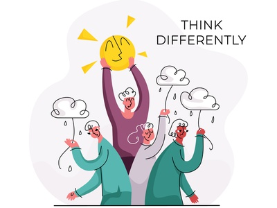 differently5 simple modern style flat vector illustration people emotion psychology joyful happy optimism different thinking