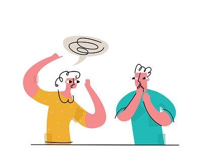 communication emotion flat modern style simple vector illustration surprised amazement couple speech bubble delusion speach communication