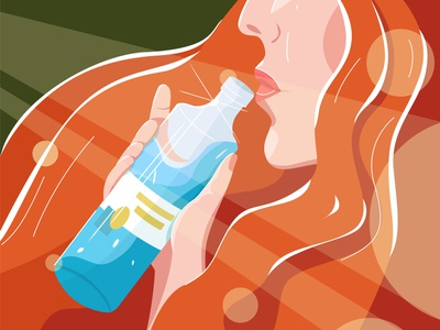 water1 design modern style vector illustration cartoon close up face drinking water bottle woman thirsty