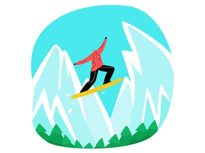 ski resort simple modern style flat vector illustration activity top winter mountains extreme jump pose snowboard ski resort