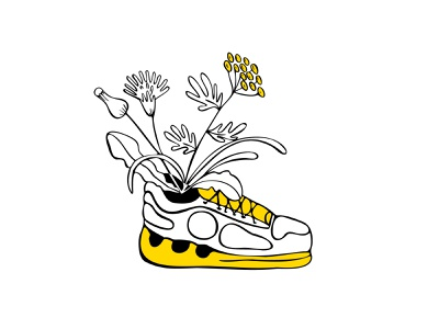 footwear7 modern style yellow boots simple illustration vector doodle line plant flower sneaker shoes sport shoes sport