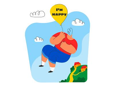 I'm happy house home emotion design simple flat modern style illustration vector flying travel joy cloud sky fly baloon teen man boy happy