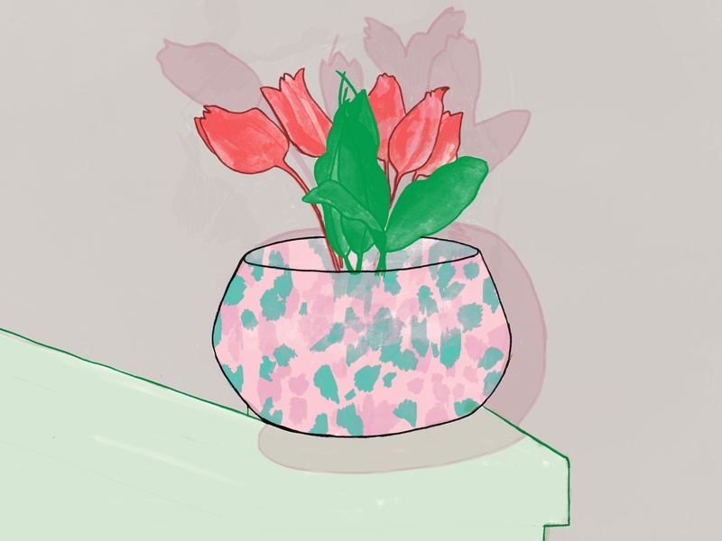 Flower at 3rd floor painting design drawing draw paint print art illustration