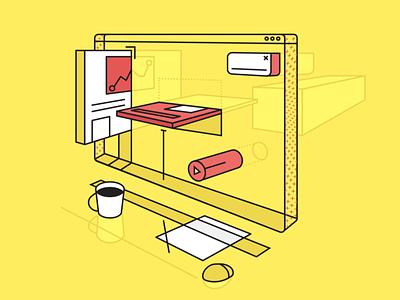 Hi Dribbble front end web development components desk workspace yellow
