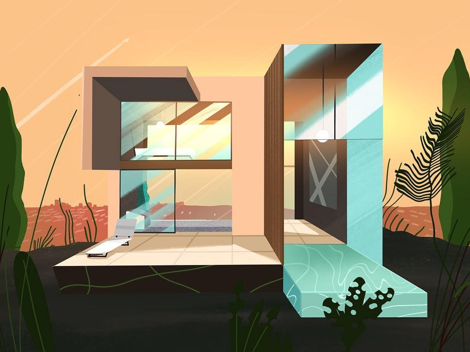 Golden hour illuatration procreate glass pool house modern home architecture los angeles la sunset down golden hour