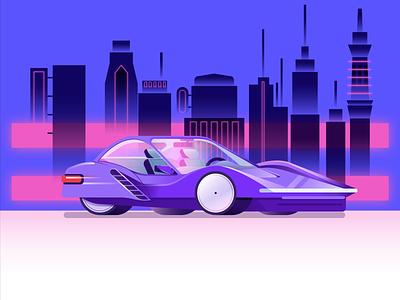 Purple Car design retro vector illustration shiny gradient future speed car city mobility purple
