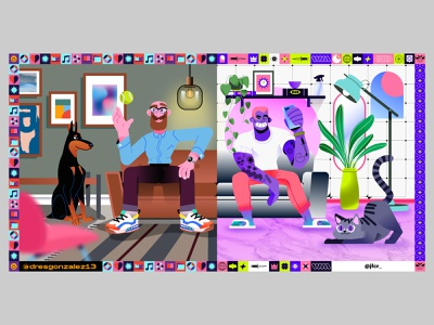 Sofa Collab vector tattoos dobberman aesthetics frame pattern vectors character beard bald purple dog cat illustration livingroom sofa inside stayhome collaboration
