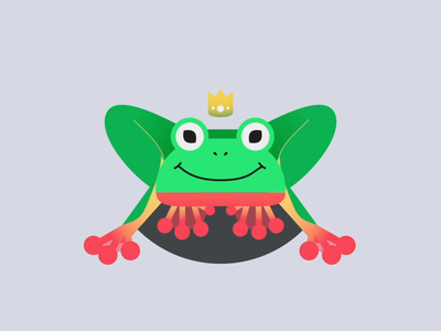 Magic Frog ribbit ripples sticker motion prince frog prince illustration animation design animation 2d crown frog animation