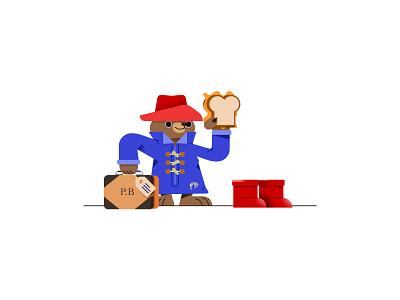 Paddington illustration vector cute character england london jacket boots paddington orange marmalade sandwich travel bear