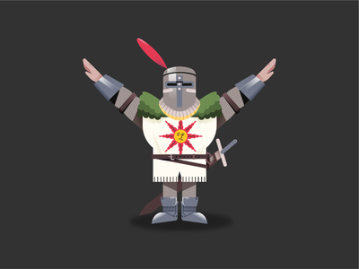 Solaire of Astora videogames illustrator vectors gradient illustration crest character design knight game gaming vector character darksouls dark souls sun