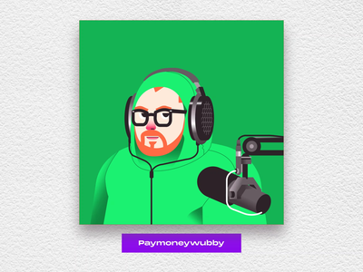 Wubby Fan art illustration animation 2d laugh museum art mic headphones green screen vector frame by frame fan art character streaming twitch animation fan