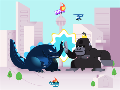 King Kong vs Godzilla icon illustrator cinema fight versus vs vectors character vector illustration movie city godzilla king kong