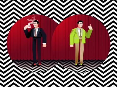 Agent Cooper vectors character illustration good damn coffee detective lynch pattern zigzag red curtains lodge black cinema movie twin peaks