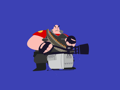 Heavy Weapons Guy audio tf2 procreate illustration characterdesign shooter fps videogame gaming character laugh bullet animation heavy