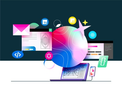 Learn Code Illustration iconography branding coding vector circle planet uiux phone computer mail inbox atom website learn ui gradient illustration code
