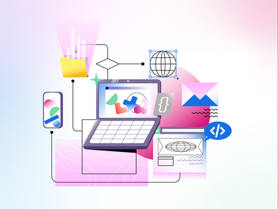 Learn Code Illustration #3 coding code pink mail email shapes texture gradients learning learn teach browser web website ui laptop vectors icon vector illustration