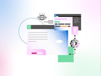 Learn Code Illustration #4 branding browser web icon shapes learning learn computer pc vectors ui design gradient vector editor text coding code