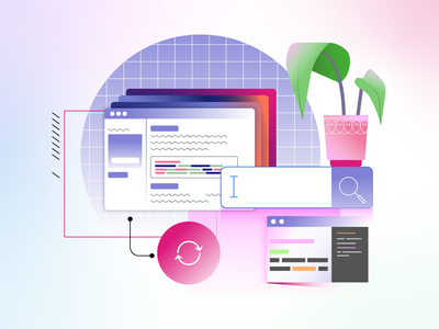 Learn Code Illustration #5 search text editor editor grid web website learning learn code coding aesthetic plants plant ui design vectors gradient icon vector illustration