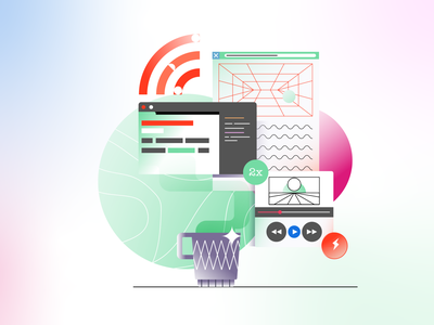 Learn Code Illustration #6 browser star pattern branding learn code wifi cup coffee player video editor website ui design vectors gradient icon vector illustration