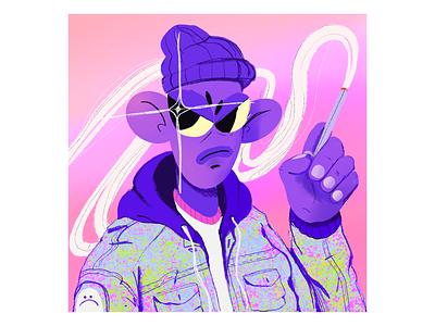 Purple Dude 3.0 fashion jacket design character smoke illustration poster abstract texture procreate ipad pro