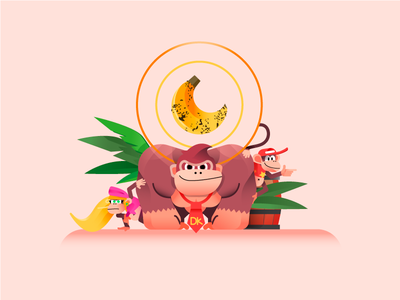 Donkey Kong charachter illustration retrogaming game retro kong donkey jungle fruit banana gaming nintendo