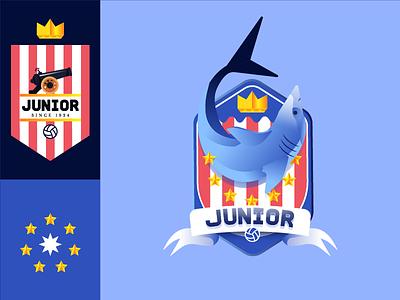 Junior soccer emblem logo gradient star crown sea shark sport badge crest football