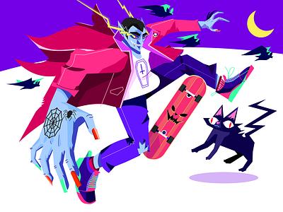 Dracoola cool purple vector art character illustration vector skate bat pumpkin cat spooky halloween dracula