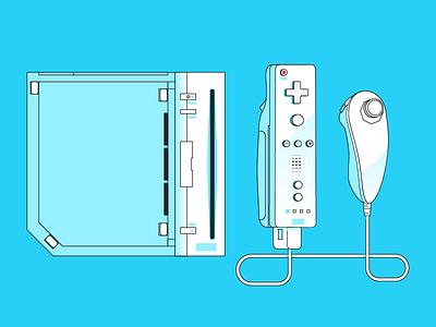 Nintendo Wii stroke nostalgia console illustration videogames games retro gaming icon vector nintendo wii
