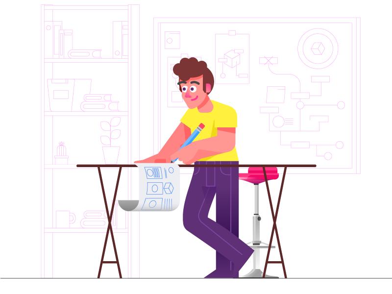 Designer Boy pencil whiteboard desk chair vector team work teamwork ux sketch jobs jeans gradient illustration designer design character
