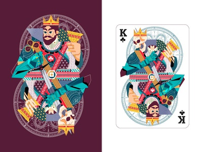 K of Clubs design vector goblet character clover luck club playing cards illustration skull crown king pattern gaming cards k
