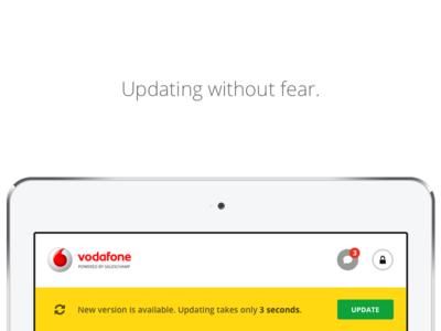 SalesChamp Update Notification message logo button manager sales ui ux mobile app tablet notification update