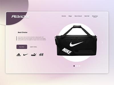 E-commerce Landing Page Design bag nike glassmorphism web ui branding website web design web header user experience user interface ui ux design