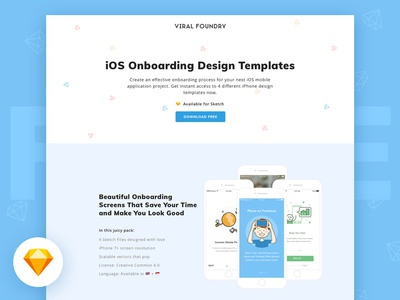 Free iOS Onboarding Design Sketch Templates