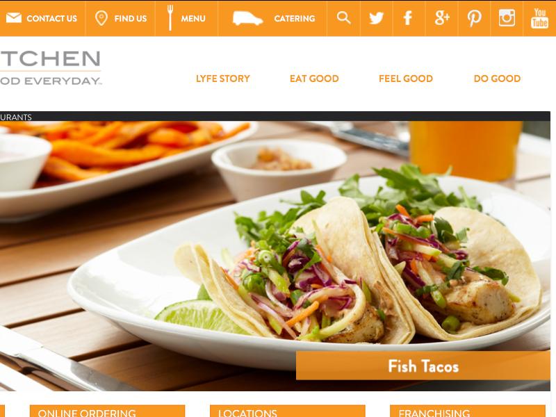 LYFE Kitchen Early/Rough Iteration slider gallery navbar food restaurants website web design