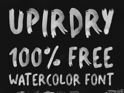 UPIRDRY - 100% FREE WATER-BRUSH FONT open type color font open type bitmap font adobe photoshop fontself waterbrush font download free bitmap font color font font watercolor