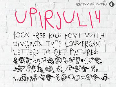 UPIRJULI4 - 100% free kids font with dingbats download drawing dingbats font design fontself free font